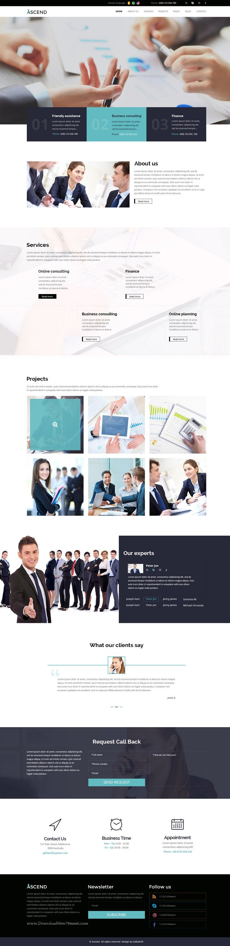 Ascend is clean and modern design premium #PSD #Template for #Consulting…