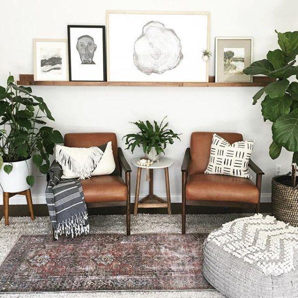 Mid Century Leather Show Wood Chair Farm House Living Room Home Living Room Living Room Designs