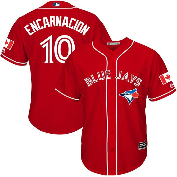 Edwin Encarnacion Toronto Blue Jays Majestic Canada Day Cool Base Player Jersey - Scarlet - $134.99