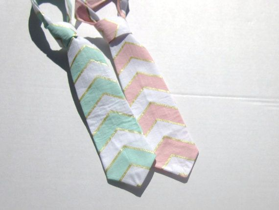 Easter Mint or Pink and Gold & White Chevron Baby by ForShoreBaby, $15.00