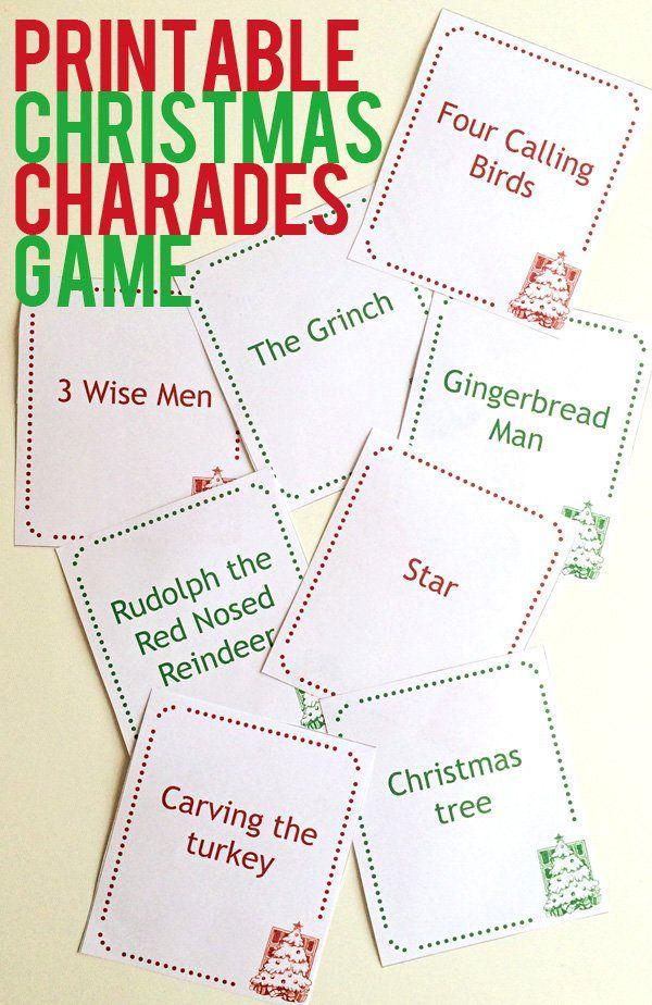 Christmas charades printable game - fun Christmas game for families