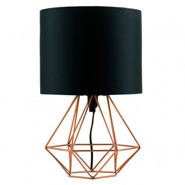 Industrial Style Angus Geometric Base Table Lamp with Black Shade