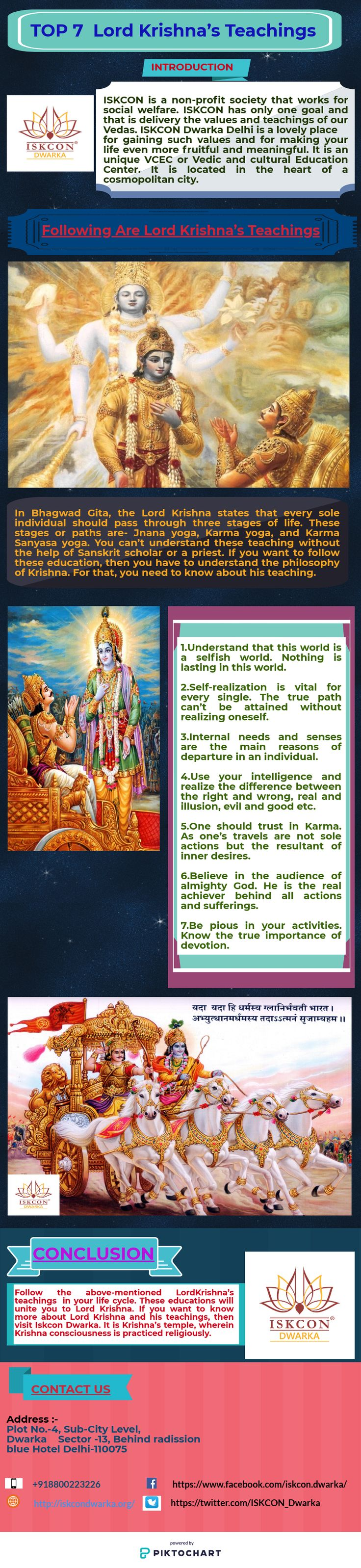 In Bhagwad Gita, the Lord Krishna states that every single should pass over and done with three stages of life. These stages or paths are- Jnana yoga, Karma yoga, and Karma Sanyasa yoga. You can't understand these teaching without the assistance of Sanskrit scholar or a priest. If you want to follow these teaching, then you have to understand the philosophy of Krishna. For that, you need to know about his teaching. Here are the seven Lord Krishna's teachings that everyone should know.