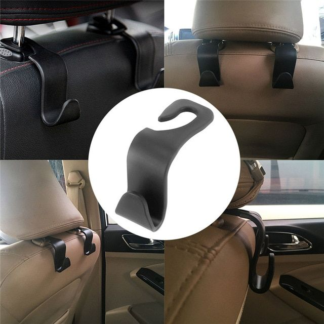 Black/&Red Good Quality Leather Vehicle Back Seat Hanger Storage for Purse Groceries Bag and More Car Headrest Hook Pack of 2