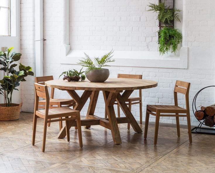 Jalta Recycled Teak Round Dining Table In Natural Finish This