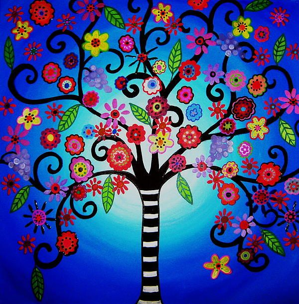 Whimsical tree of Life Painting. gift, ideas, bar,bat,mitzvah, nursery, room,designs,picture,cool,florals,flowers, whimsy #prisarts