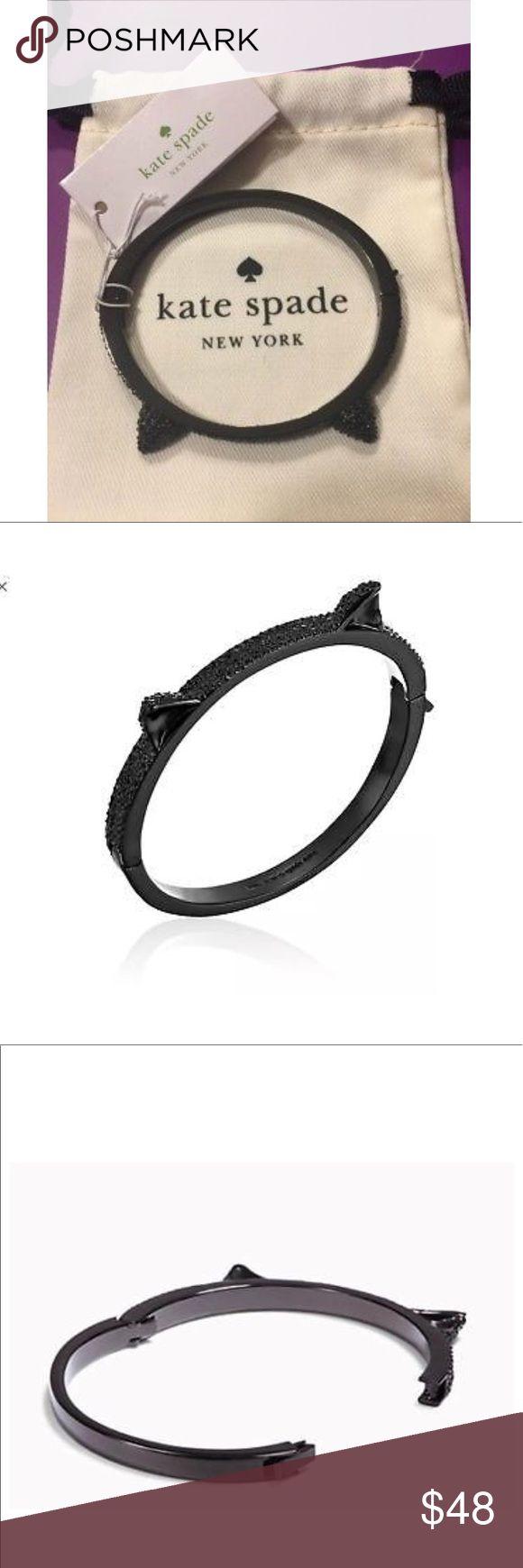 "Kate spade cat bangle bracelet Beautiful Kate Spade pave cat ear bangle bracelet made from dark black crystals . Inside diameter measures 2 1/2"". kate spade Jewelry Bracelets"
