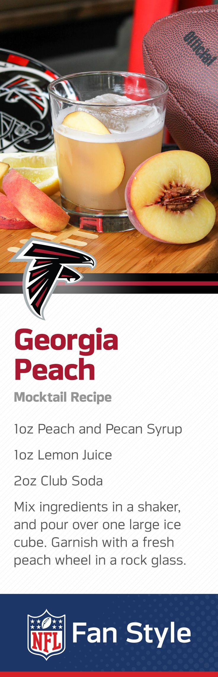Everything is just peachy in Atlanta. When the Falcons take the field and your buddies come over for a good ol' fashion Homegate, serve up a tray of these peach and pecan mocktails.