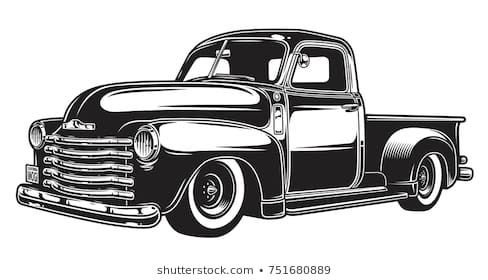 Portfolio De Imogi Graphics No Shutterstock Vintage Pickup Trucks Classic Pickup Trucks Monochrome Illustration