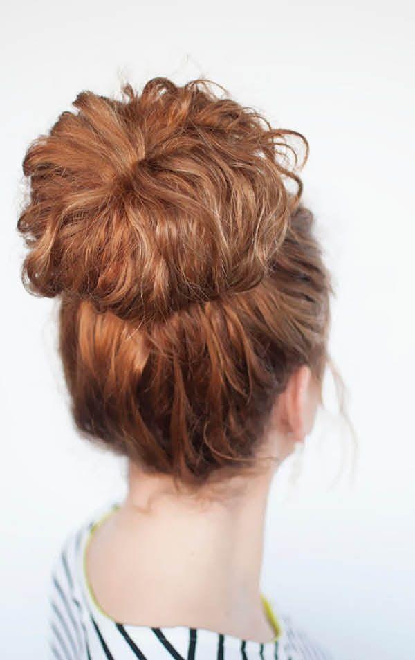 Пучки на кудрявые волосы: три способа плетения своими руками