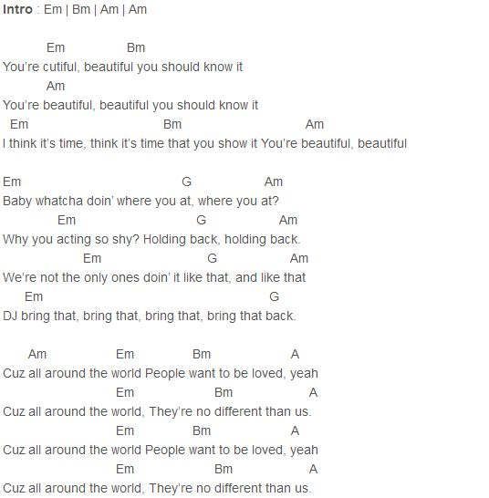 Justin Bieber - All Around The World (Acoustic) Chords Capo 3 : Justin Bieber : Pinterest ...