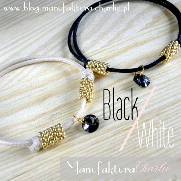 minimalistic black and white bracelet with Swarovski crystal