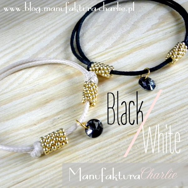 minimalistic black and white bracelet with Swarovski crystal