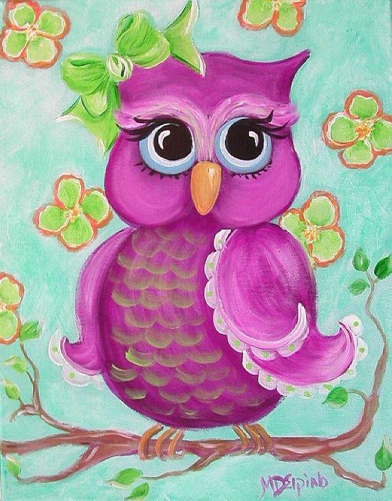 cute owl on canvas-