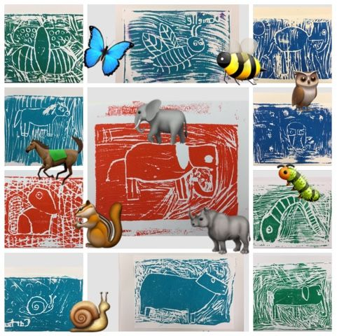 3rd Grade Animal Printmaking Project