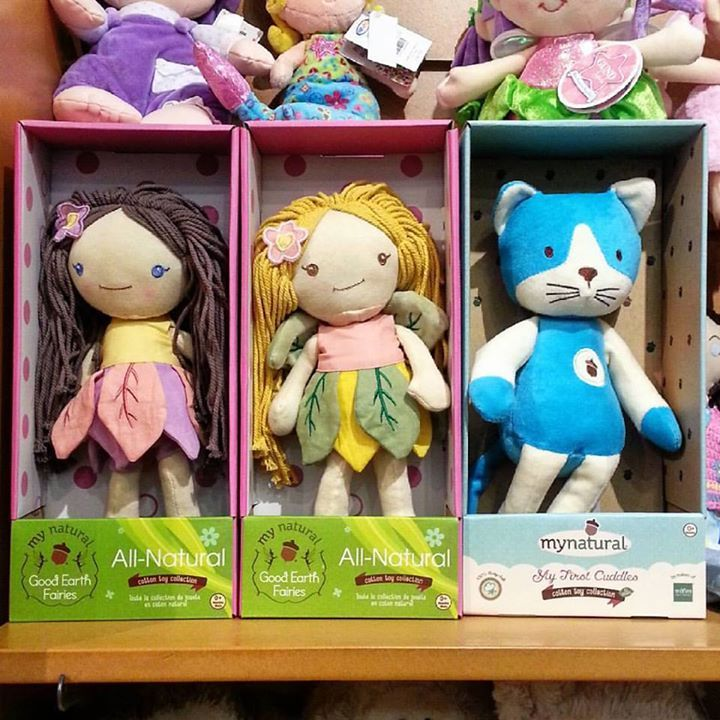 New from My Natural... Good Earth Fairies and My First Cuddles Kitty cotton dolls! Made of quality cotton velour, with a low eco impact dye process, these dolls are safe for your little one and machine washable for moms