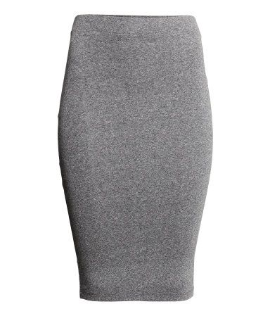 Knee-length fitted pencil skirt in jersey with elasticized waistband. Grey melange.  | H&M Divided