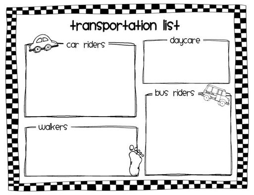 Transportation List To Keep In Classroom & Sub Binder