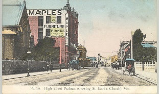 High Street Prahran (showing St Mark's Church), Vic., ca. 1900.