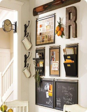 Figure out a way to recreate this wall from pottery barn at a fraction of the cost. Also, must find an off-the-wall clock for the hallway!