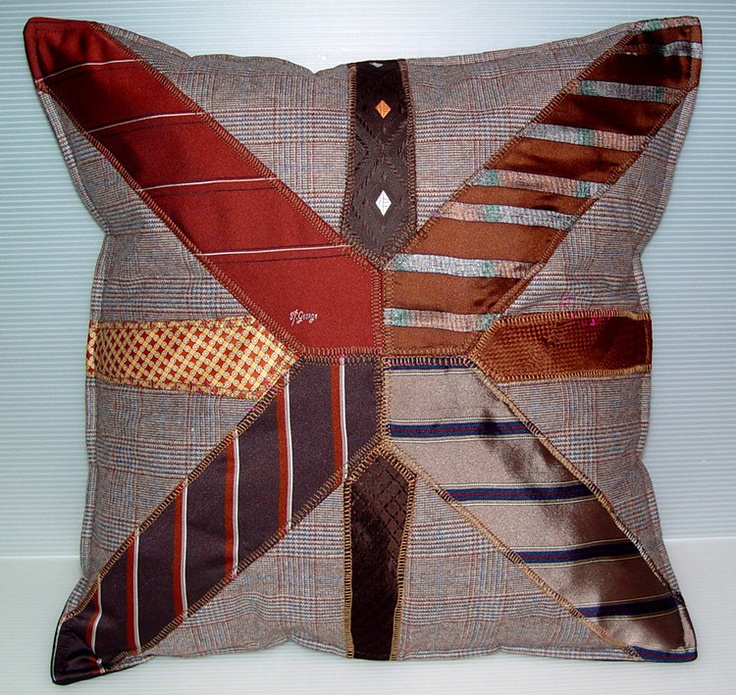 Really fun idea for Fathers Day Gift! If only I cld DIY this! Necktie Pillow Cushion Cover by VintageUpcycled