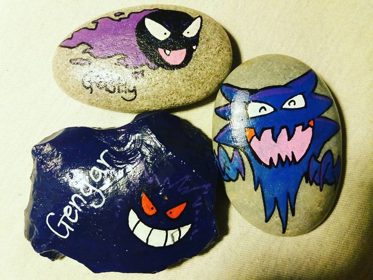 Pokémon stones :). Evolution line of Gastly. Might place these on Poké-stops #ranyllbladeart #paintedstones #painting #stones #art #pokemon #evolution #creative #poscaart #nintendo #pokestop #pokemongo