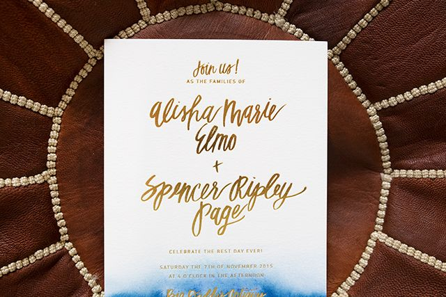 Casual wording - Indigo Watercolor and Gold Foil Wedding Invitations by Goodheart Design / Oh So Beautiful Paper