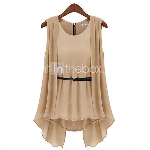 Women's Round Neck Pleated Blouse, Polyester Sleeveless - USD $ 13.99