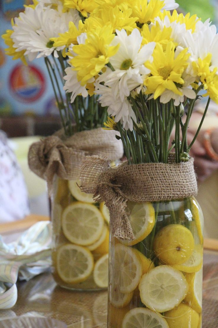 lemon flower arrangement for baby shower grey yellow. Black Bedroom Furniture Sets. Home Design Ideas