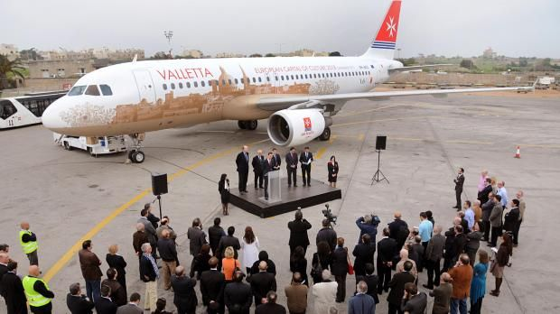 It was a grand arrival for Air Malta's Airbus A320 9H-AEO this afternoon, which has been rebranded with the Valletta 2018 logo to promote Valletta's bid to become European Capital of Culture 2018.