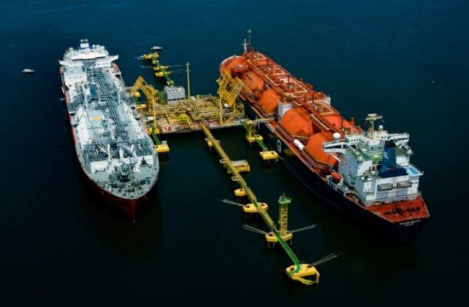 The Golar Spirit FSRU (right) and an LNG carrier berthed at the Pecém terminal jetty, in Brazil.
