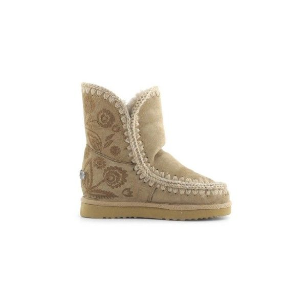 Mou Eskimo Inner Wedge Short Embroidery Boots Camel - MOU