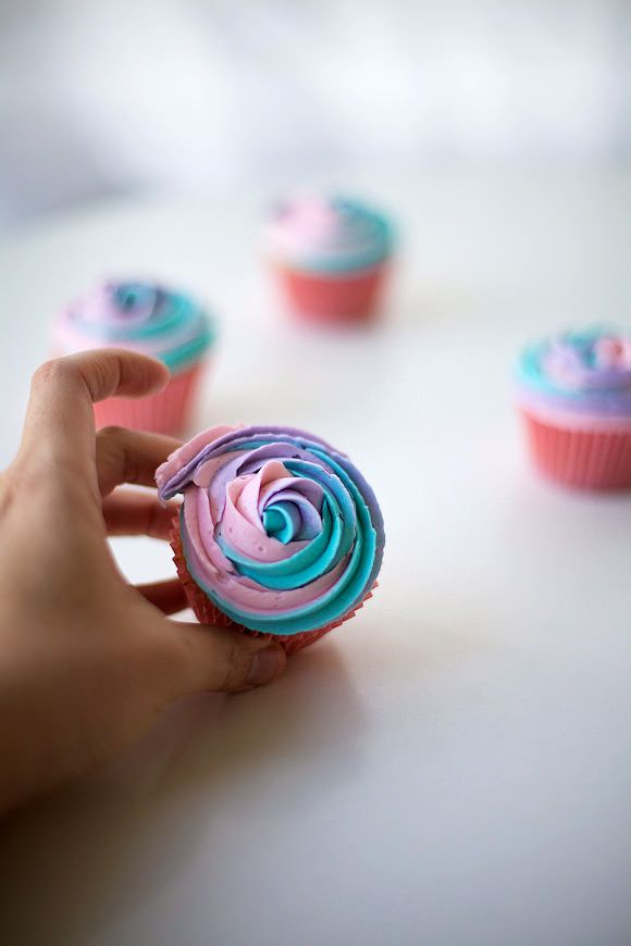 Make Rainbow Cupcakes With One Easy Trick - All Three  Frosting Flavors at One Time!