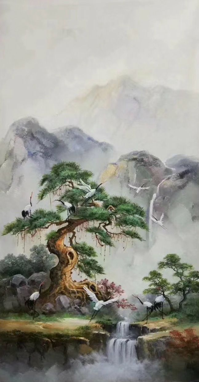 Id 741 Size 60x120cm 24 X48 Inch 100 Hand Made Oil Painting Decoration Murals Art Home Dec Chinese Landscape Painting Landscape Paintings Chinese Landscape