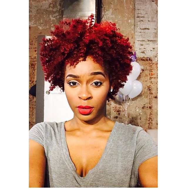 Short Natural Hairstyles With Color: Red Colored Natural Hair
