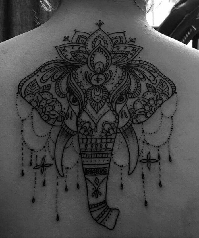 elephant tatouage mandala