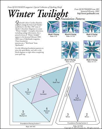 Free foundation pieced pattern: Winter Twilight