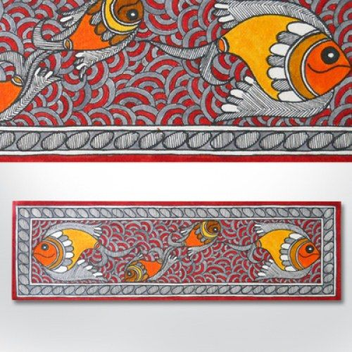 Madhubani painting featuring fishes