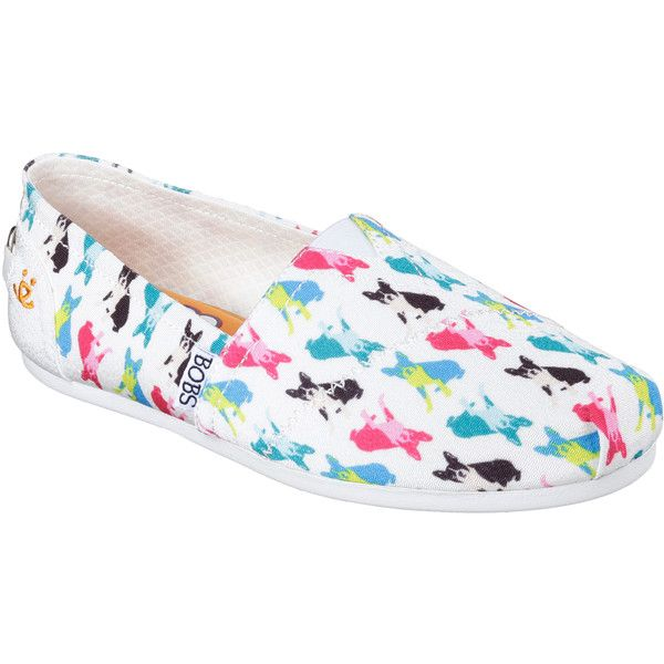 Skechers Women's Bobs Plush - Double Vision White - Skechers (675 ARS) ❤ liked on Polyvore featuring shoes, white, woven shoes, skechers shoes, multi colored shoes, woven slip on shoes and woven flat shoes