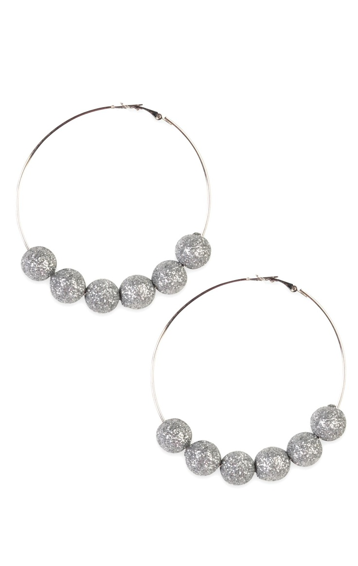 Basketball Wives Hoop Earrings With Glitter Beads