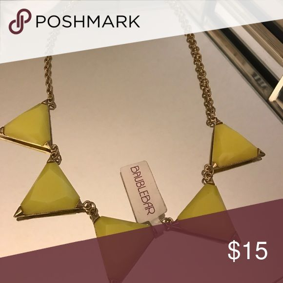 Baublebar Statement Neon Yellow Trianglw Necklace Never worn (accidentally purchased two!!) Perfect statement necklace to pair with an off the shoulder dress or shirt! Baublebar Jewelry Necklaces