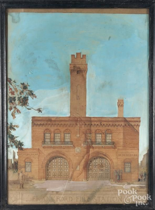 Mixed media drawing of the Frankford Fire Station, Philadelphia, ca. 1926, signed R. G. Westerfield - Price Estimate: $200 - $400