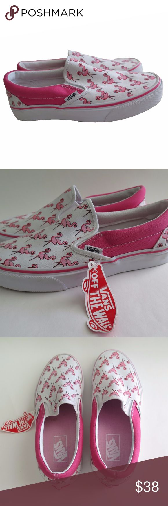 """NEW Vans Flamingo 8.5 Canvas Skate Shoes Pink Slip For sale are these Rare NEW Flamingo Vans.   Size: 8.5 in Women's (7 in Men's)  Toebox: 3.5""""  Length: 10.5""""  Color: White, Pink   *Note- These have a little yellow mark on the inside which is very minimal. See photos for reference.   * Photos and measurements are featured on the listing to provide proof of authenticity and size. Since in-depth details is provided, Returns are not accepted.  * Feel free to contact me for further inquirers…"""