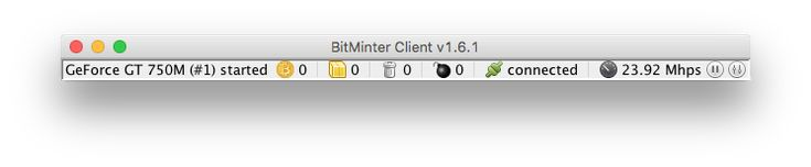 BitMinter Client with GeForce GT750M  I'm using BitMinter Client v1.6.1 on iMac with an on-board GPU GeForce GT 750M. It's running at rather low speed as expected (around 23Mhps) will I have a chance to really mine something useful out of it without using any external ASIC miner?  I keep seeing the line finished a work unit in the log but the accepted count is always 0. Is that normal?  Also is the software compatible with NF1 NanoFury USB ASIC ?  http://ift.tt/2Djk8Xm