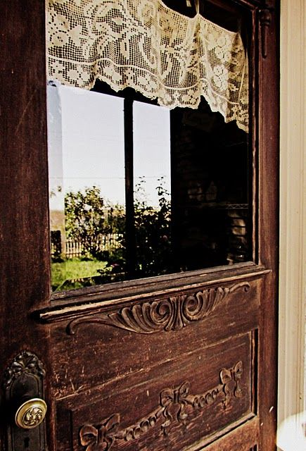 ~Back Doors, Lace Curtains, Front Doors, Old Wood, Windows, Wooden Doors, Old Doors, Vintage Doors, Wood Doors