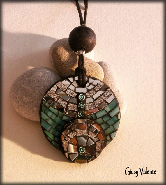 Mosaic to wear   Sea Pendant by GiusyValente on Etsy