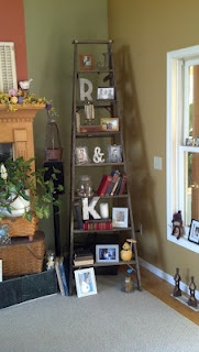 Old ladder re-purposed as shelving!