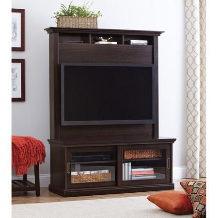 "Better Homes and Gardens Chocolate Oak TV Stand with Hutch for TVs up to 50"" - Walmart.com"