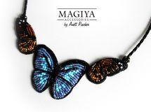 春の蝶々✿ビーズ刺繍ネックレス