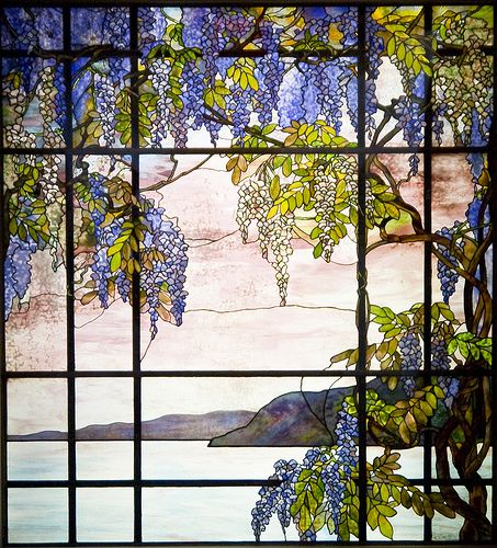 """Leaded Glass Panel """"A View Of Oyster Bay"""" By Louis Comfort Tiffany"""